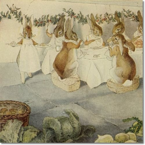 The Rabbit's Christmas Party.  The Meal Beatrix Potter