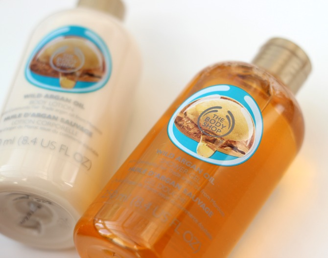 Body Shop Wild Argan shower gel and body lotion