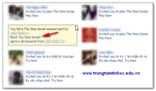 chặn những lời mời ứng dụng
