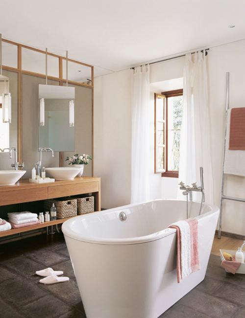 Baños Estilo Rustico Moderno:Baño rústico con toques modernos muy actuales