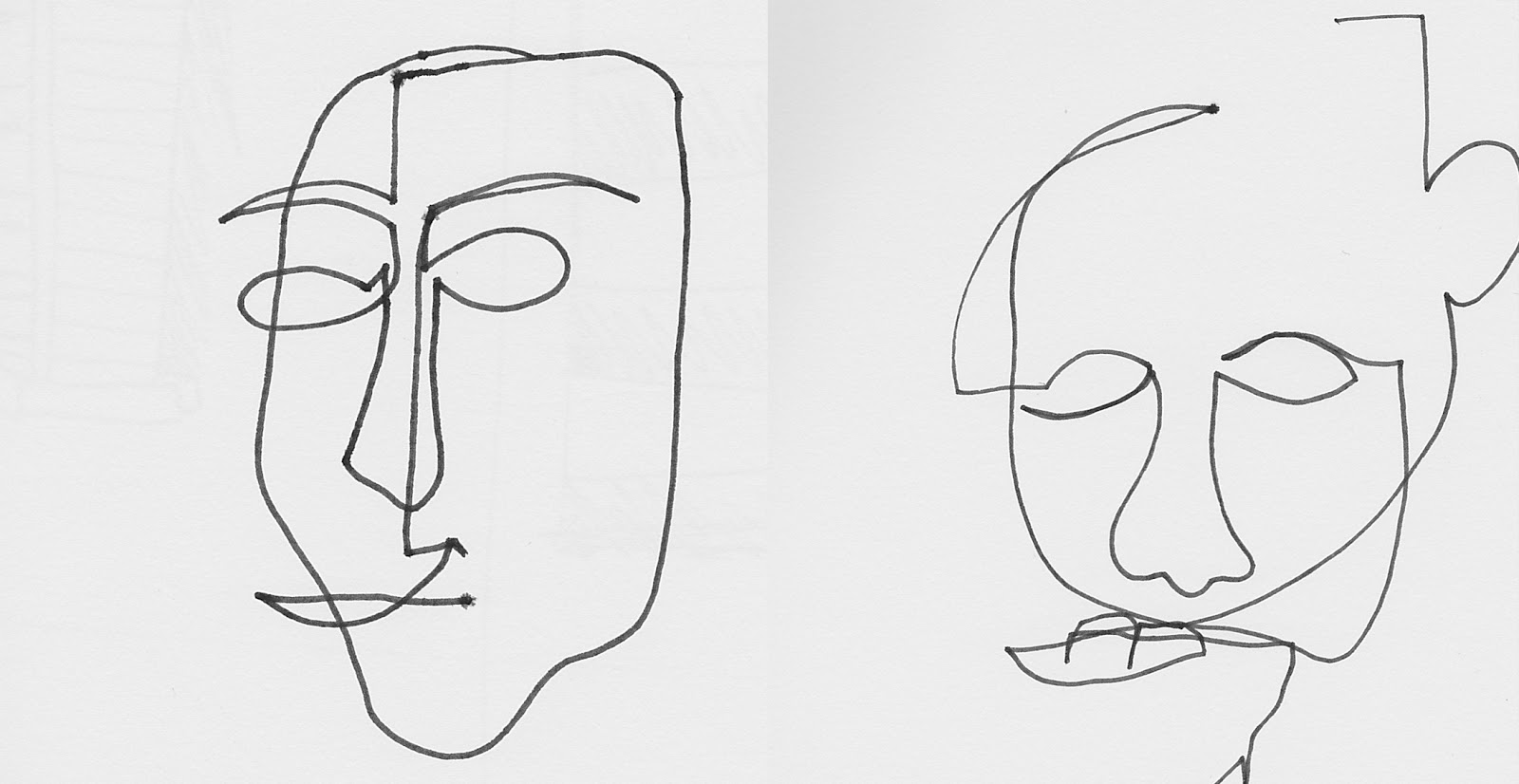 Line Drawing Faces : Abstract face line drawing sketch coloring page