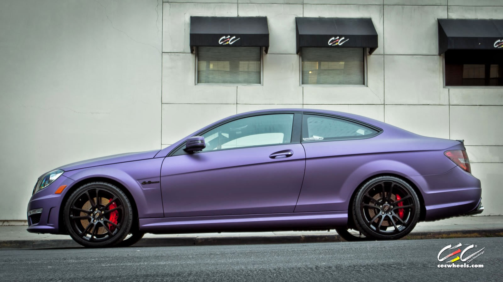 mercedes benz w204 c63 amg coupe purple matte on cec wheels benztuning. Black Bedroom Furniture Sets. Home Design Ideas