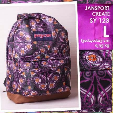 jual online tas ransel jansport kanvas kw murah motif bunga
