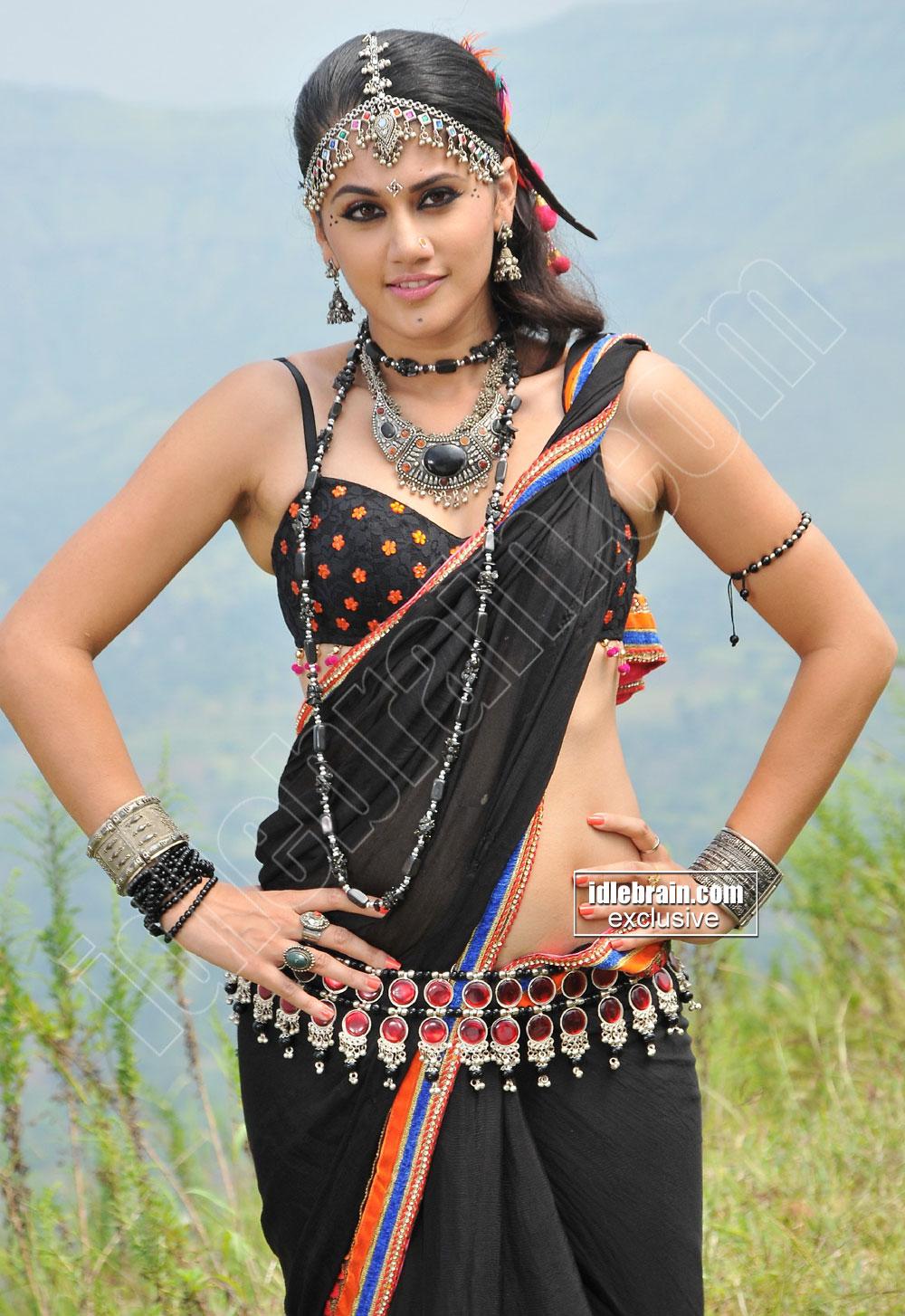 Tapsee Hot Black Saree