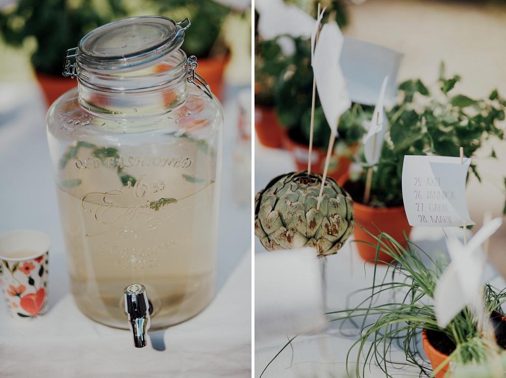 Detaljbilder på lemonad i glasburk och bordsplacering