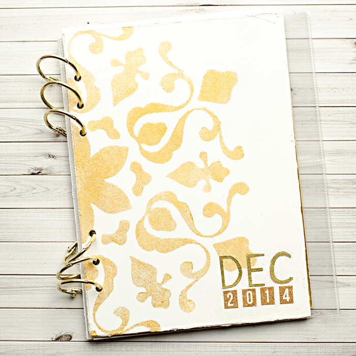 a tutorial showing how I made my cover for my December Daily, Document Your December mini album for 2014 | mini album prepartions | mixed media scrapbooking
