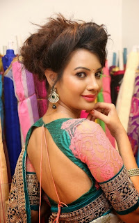 Actress Diksha Panth Latest Pictures in Saree at Nakshatra Designer Store Launch 79