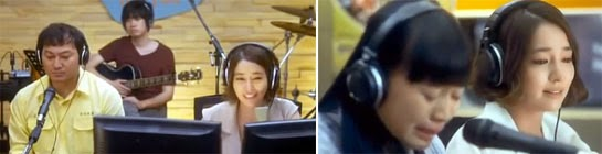 Shin Jin A hosting her radio show with her guests, a cab driver (Jeong Man Sik 정만식)  and a student (Jo Jung Eun 조정은)..