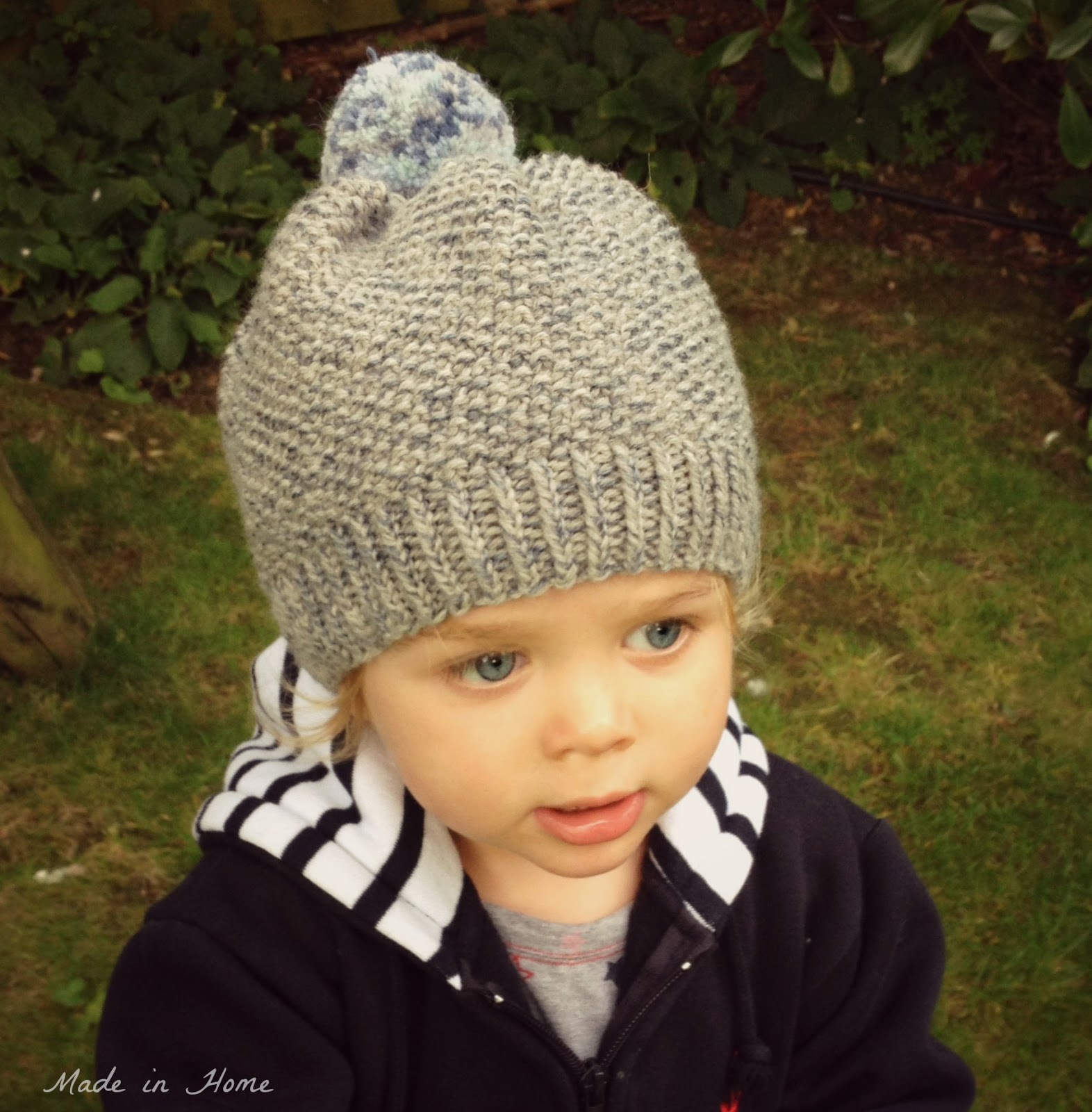Knitting Pattern For Childs Beanie Hat : Made in Home: Toddler Pompom Beanie Hat A free pattern {Knitting}