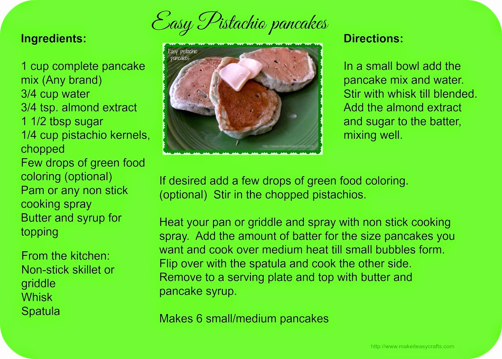 Pistachio pancake recipe card