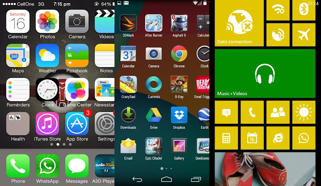 iOS7, Android Kitkat & Windows Phone screens