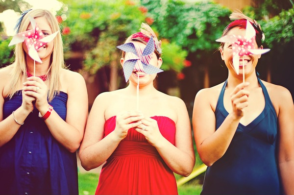 red, white, and blue wedding colors, blue dress, american flag pinwheels,