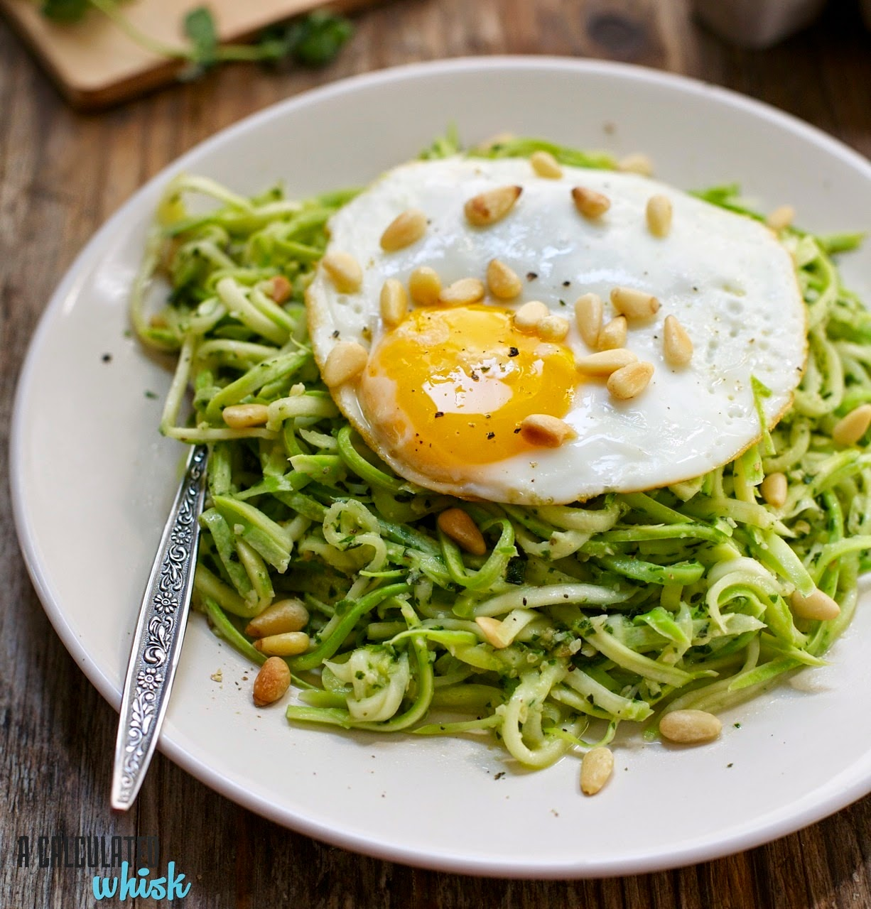 Squash Noodles with Everything Pesto (and an egg on top)