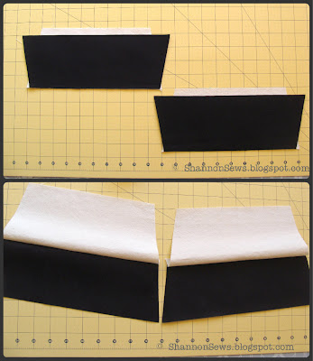 Sew two colors of fabric together for eye-catching pouch exterior