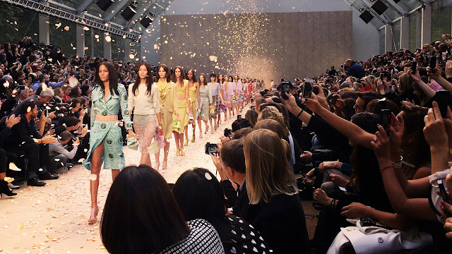 The Burberry catwalk show finale featuring pastel shades