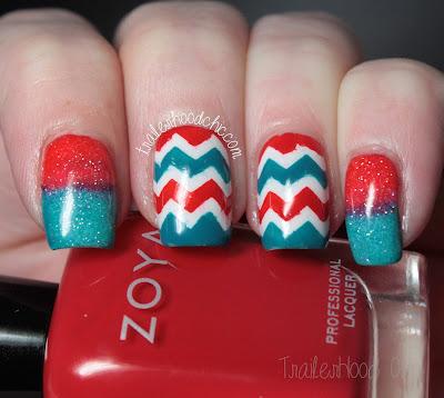 patriotic red white and blue nails zoya talia demetria