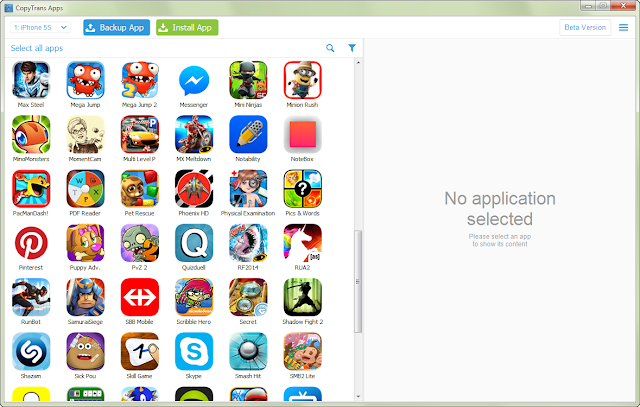 iphone applications shown on pc window