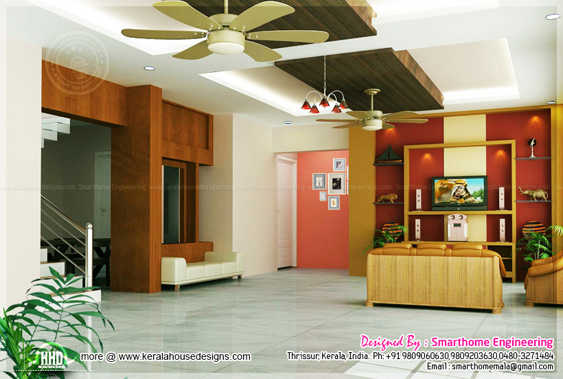 September 2013 kerala home design and floor plans for Kerala house living room interior design