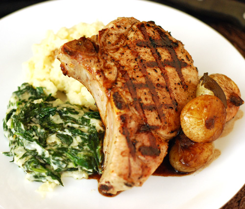 grilled pork chop recipe, Big Green Egg pork chop recipe, Grill Dome pork chop recipe, kamado grill pork chop recipe