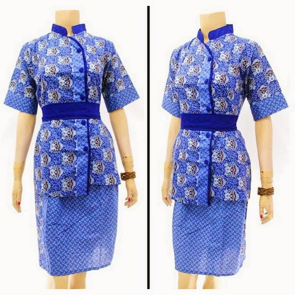 DB3814 Model Baju Dress Batik Modern Terbaru 2014