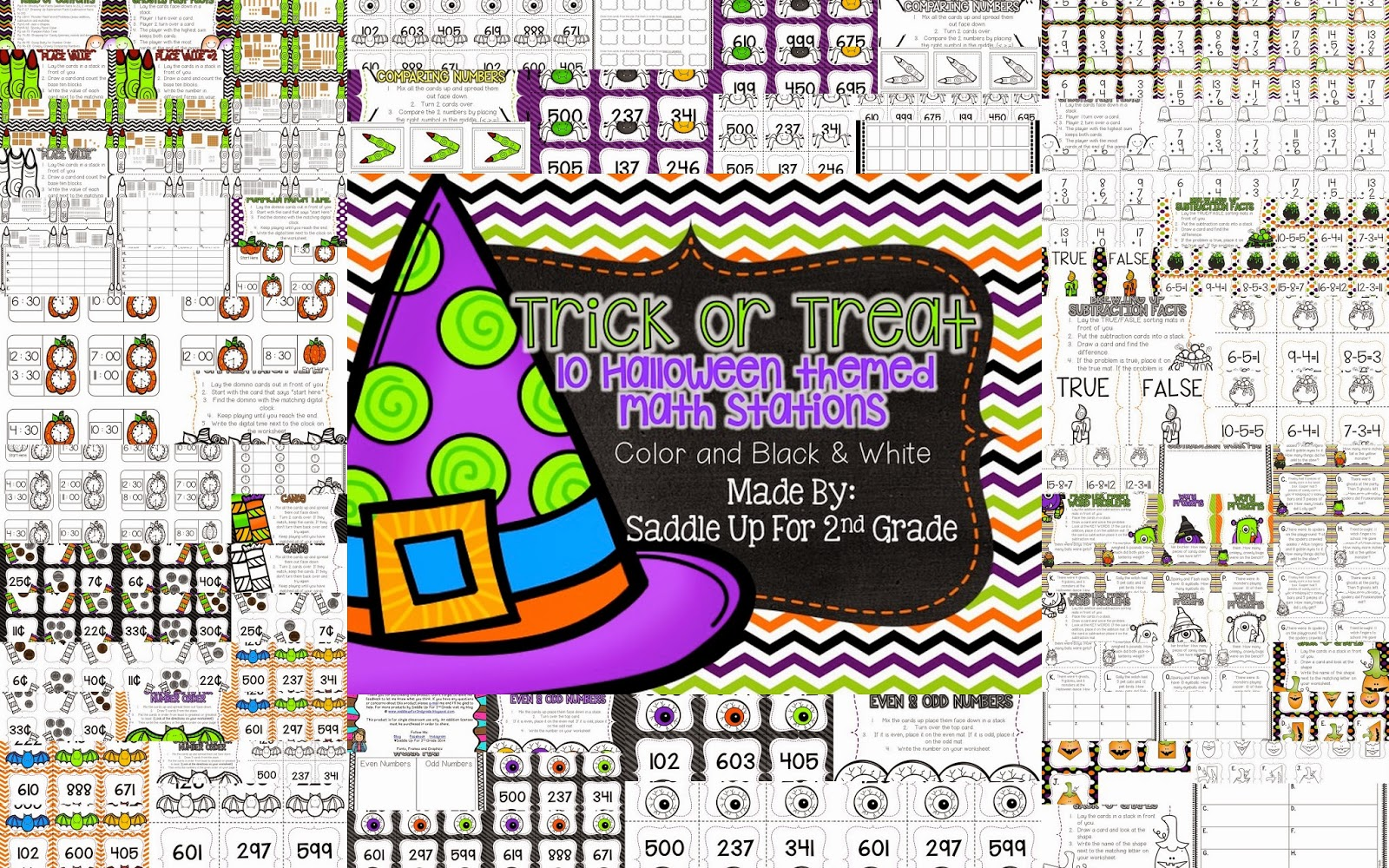 Trick or Treat Math Stations by Saddle Up For 2nd Grade