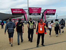 entering the Olympic Park, 9am, day 1