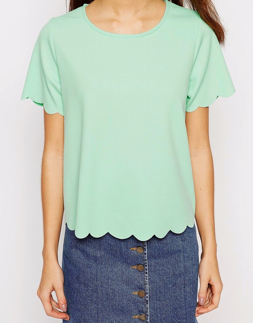scalloped hem tee tshirt only 23 dollars sale
