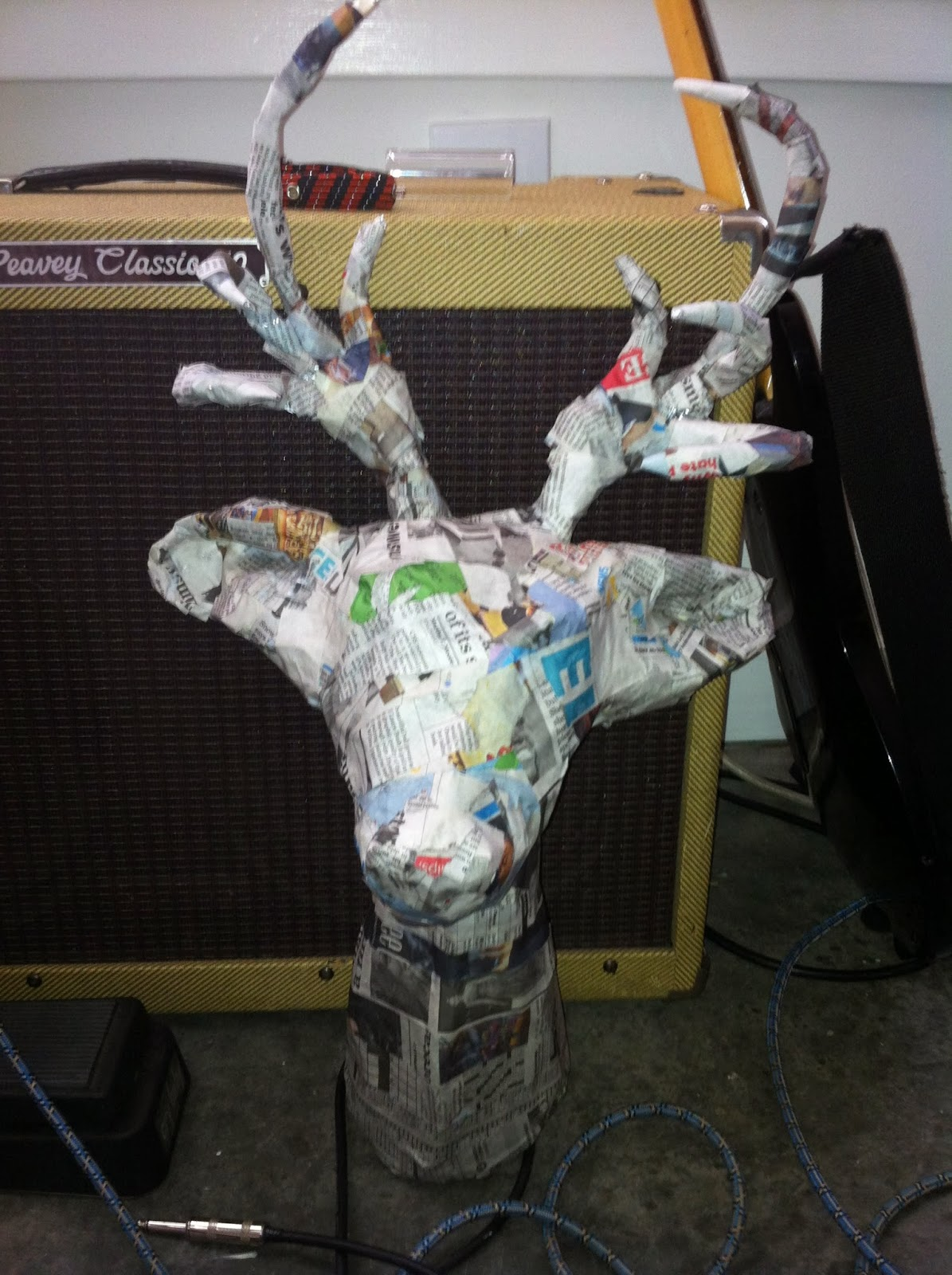 French Silver Diy Paper Mache Stag Head