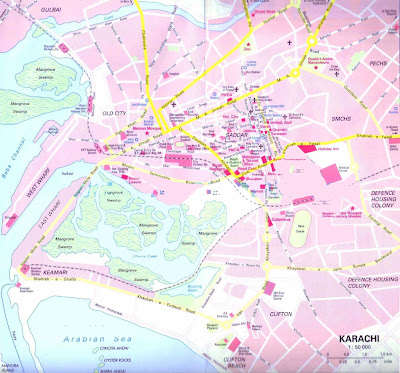 Road map of Karachi