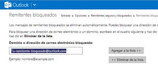 bloquear remitente en Outlook