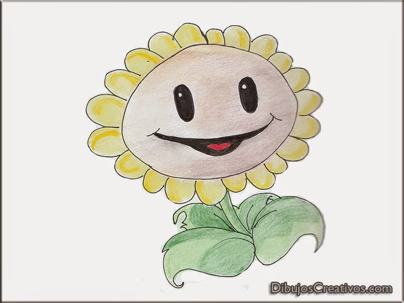 dibujos coloreados girasol plantas vs zombies