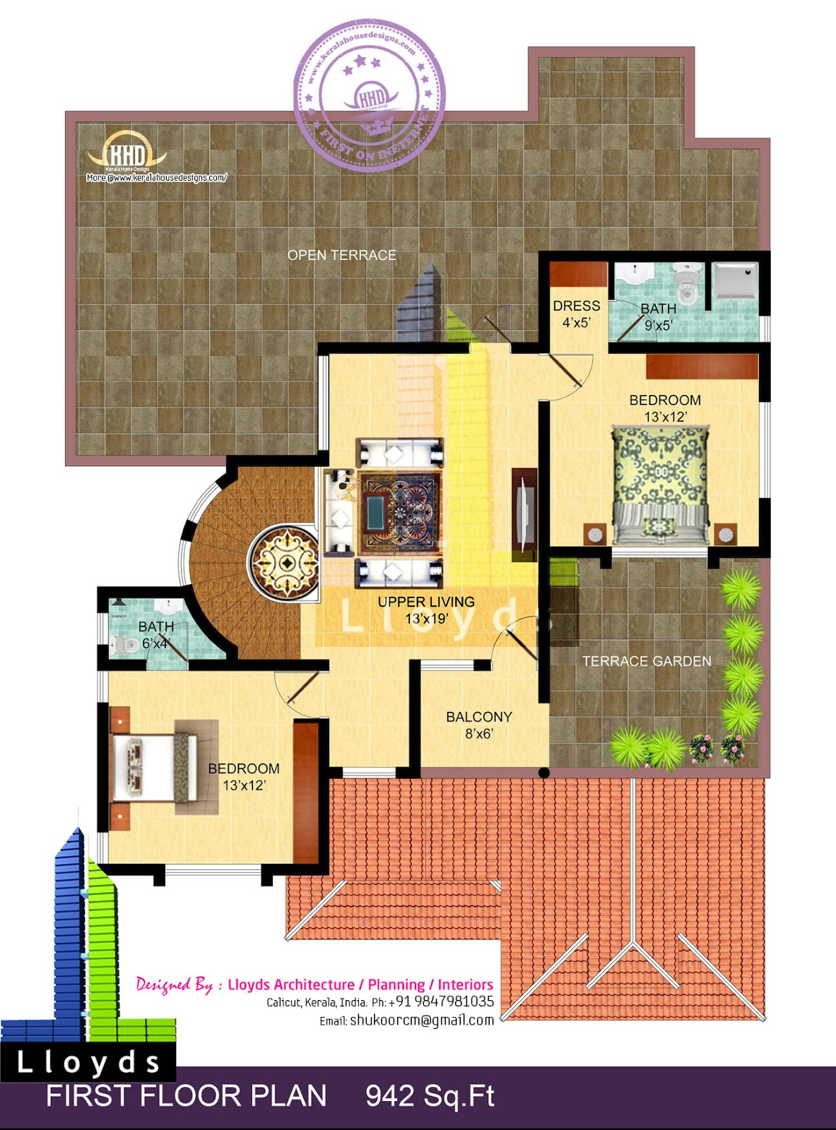 4 bedroom bungalow floor plan and 3d view home kerala plans