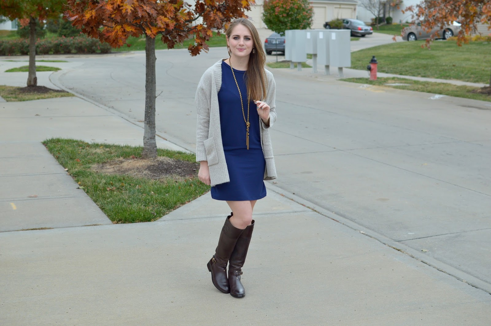 navy t-shirt dress with a cozy sweater