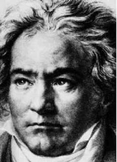 black and white photo of a bust of Beethoven