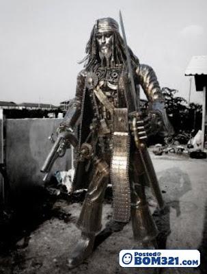 Patung Jack Sparrow Dari Besi Terpakai