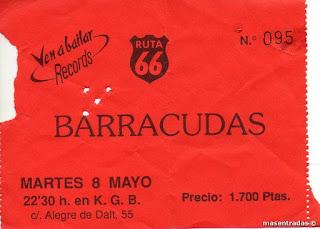 entrada de concierto de barracudas