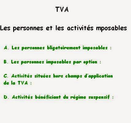 La TVA - Les personnes et les activités imposables