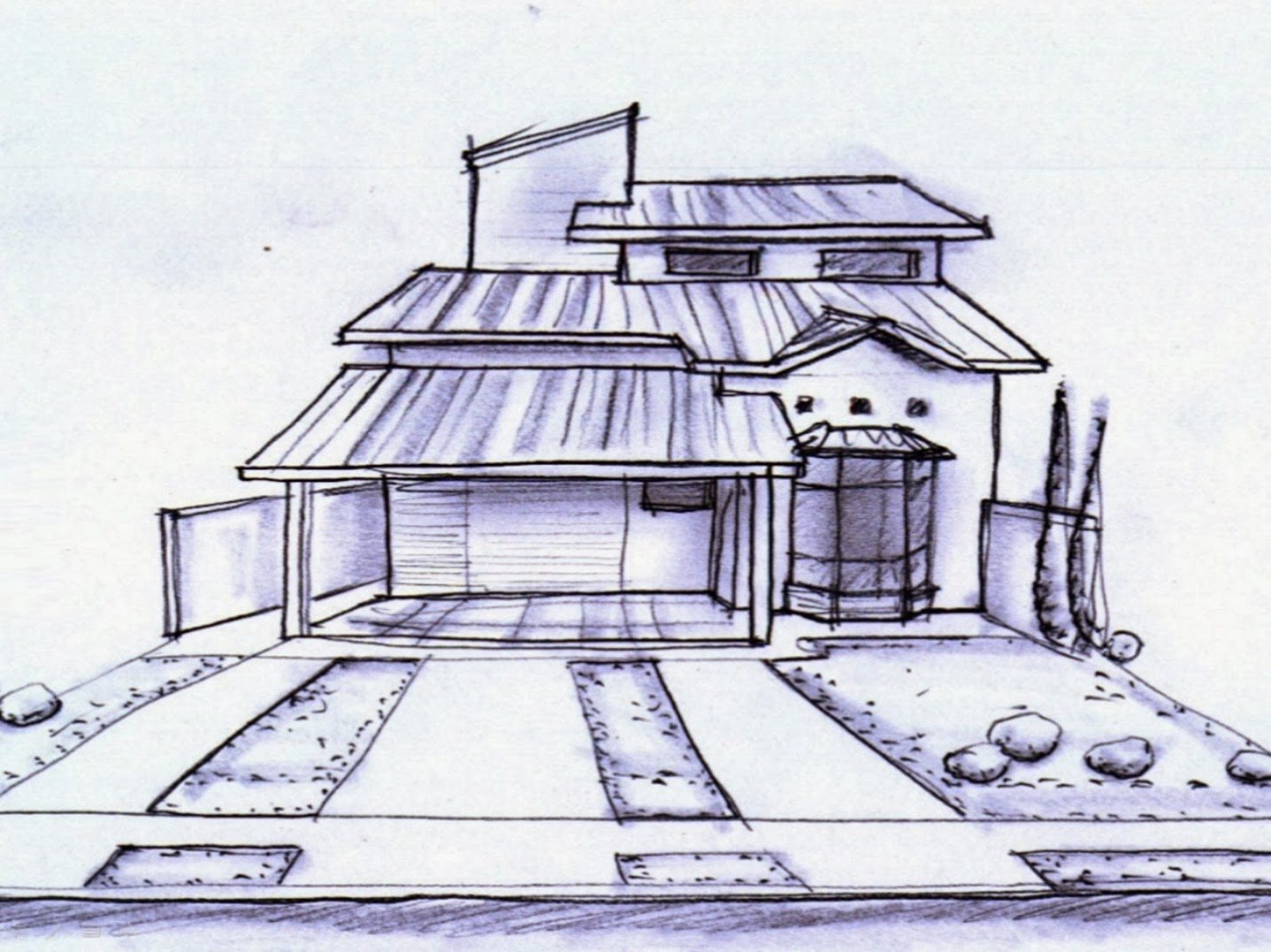 Traços rápidos capturam o partido arquitetônico neste estudo de fachada.
