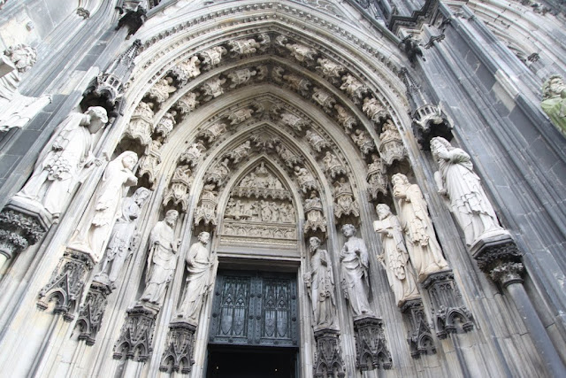 The main entrance with the 19th century decoration at Cologne Cathedral in Cologne, Germany