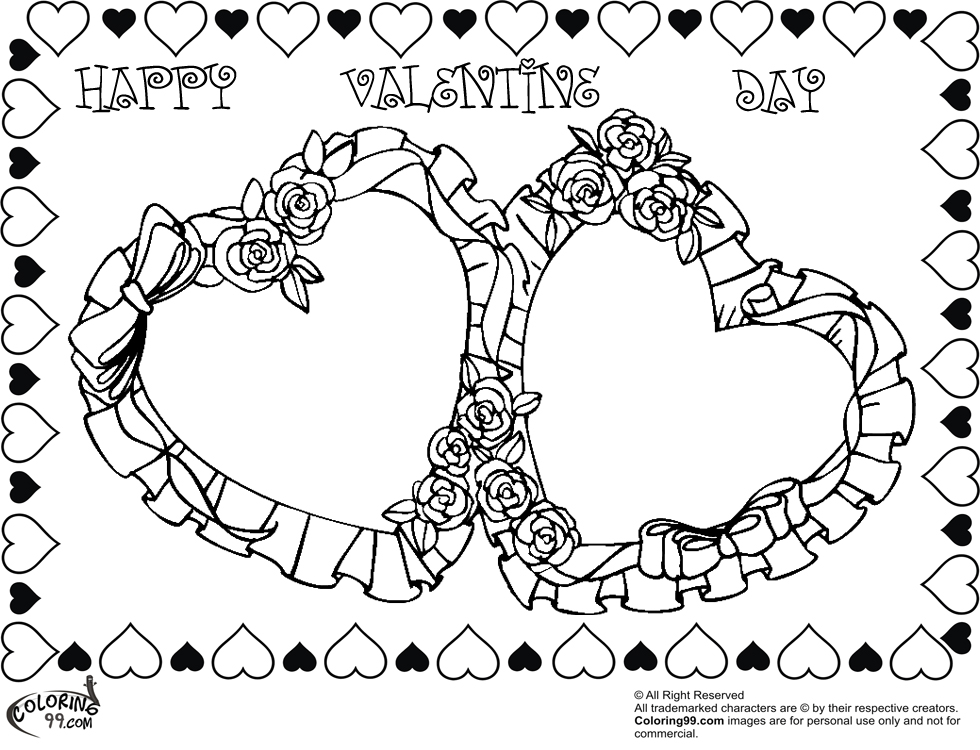 double rose valentine heart coloring pictures - Coloring Pages Hearts Roses