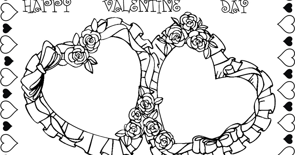 Rose valentine heart coloring pages team colors for Double heart coloring pages