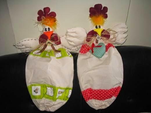 Moldes puxa-sacolas de galinha