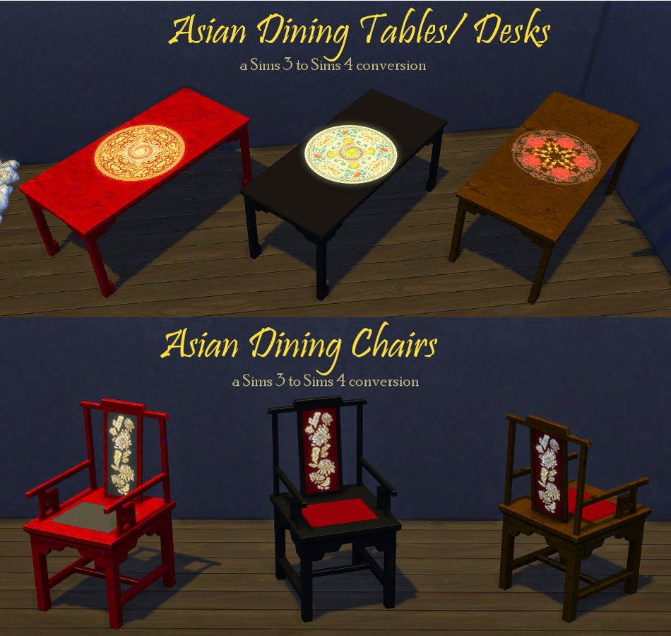 TS3 Asian Dining Set, End Tables And Dressers By LeanderBelgraves