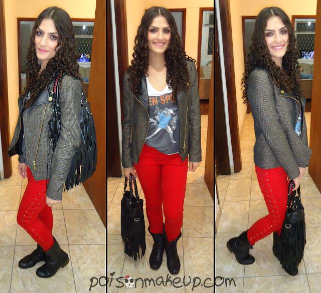 look-com-calca-vermelha-e-jaqueta-brilhante