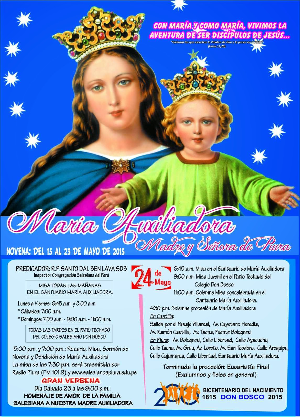 Novena de María Auxiliadora 2015