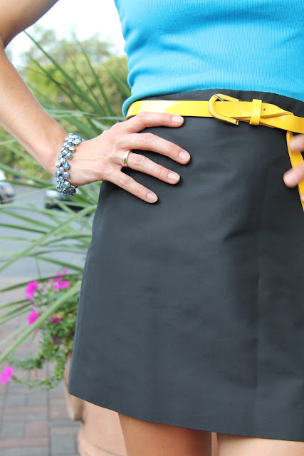 J. Crew Black Mini Skirt, Forever 21 Belt, Vintage Bracelet