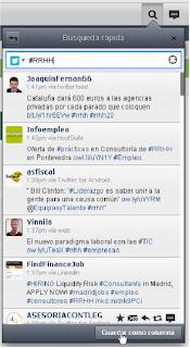 Búsqueda rápida en Twitter del hashtag #RRHH con HootSuite