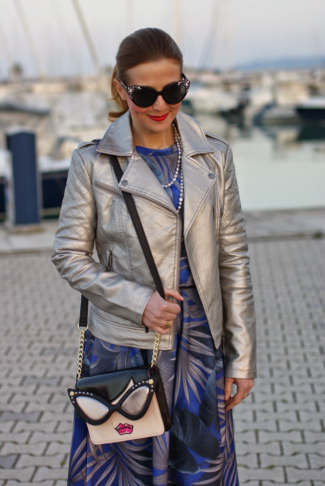 Betsey Johnson crossbody bag, palm print scuba skirt, dsquared2 cay eye sunglasses, Pearl Clasp necklace, Asos silver jacket, Fashion and Cookies fashion blog, fashion blogger