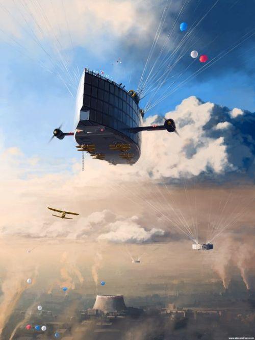 alex andreyev ilustrações surreais mundos distópicos futuro ficção científica