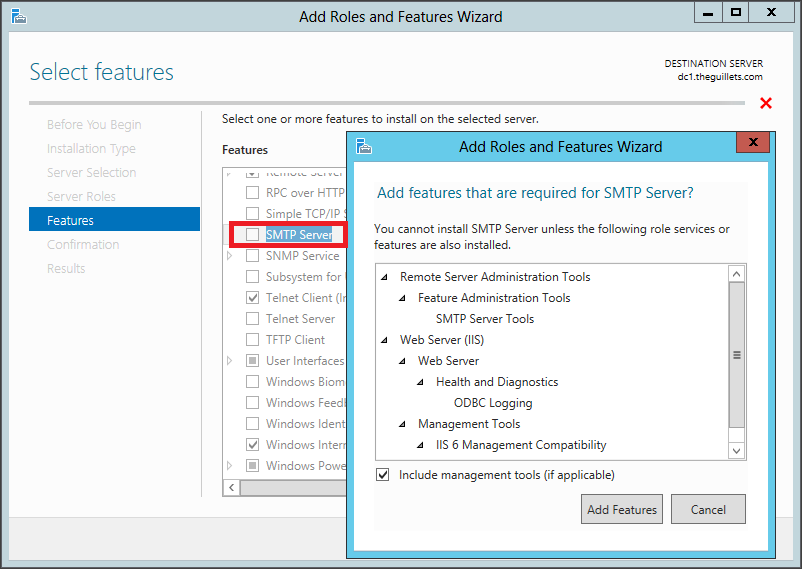 Charming Adding The SMTP Server Feature And Its Dependencies To Windows Server 2012
